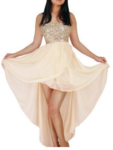 Schulterfreies Pailletten Abendkleid im Vokuhila Style